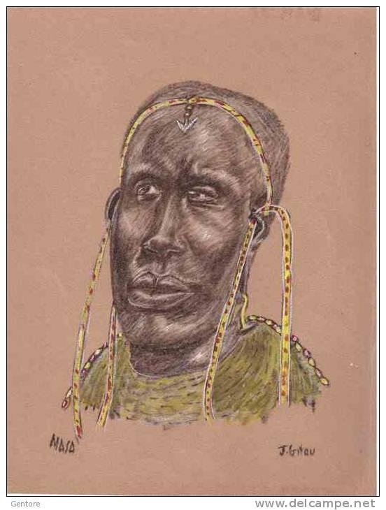 Viso Di MASAI Realizzato A Tempera Su Carta Vetrata (Glass Paper N° 1) Firmato J. Gitau Formato 22,5 X 28 Cm - Afrikanische Kunst
