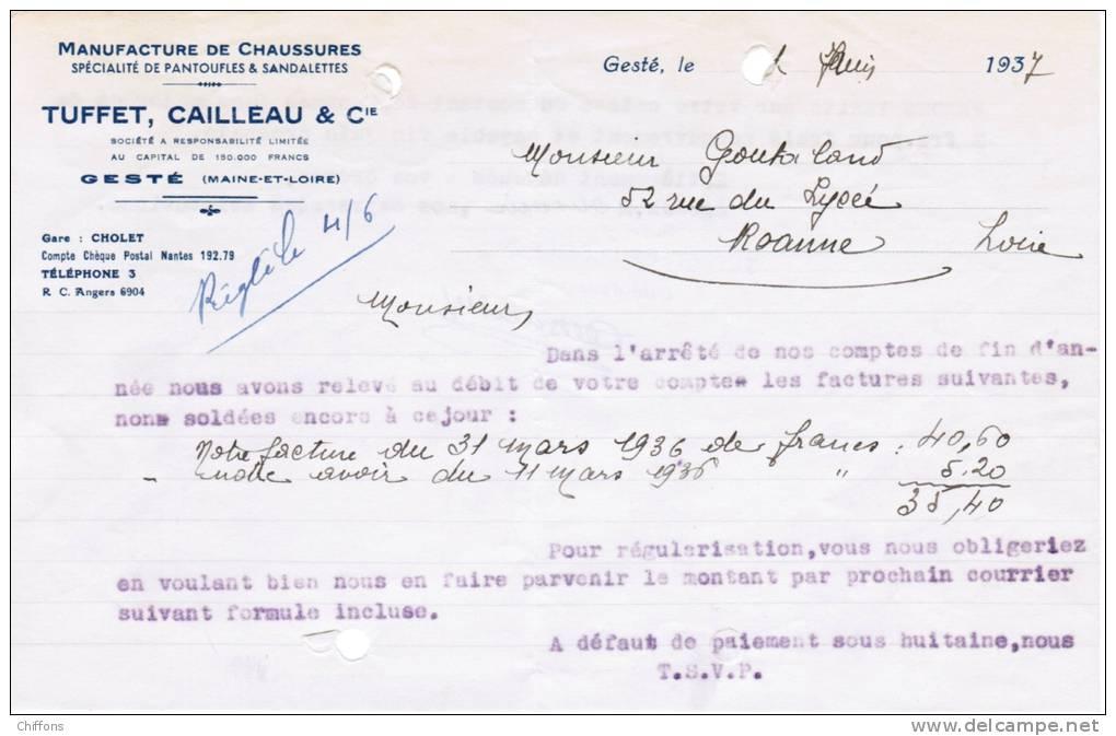 1937 MANUFACTURE DE CHAUSSURES SPECIALITE DE PANTOUFLES & SANDALETTES TUFFET CAILLEAU & Cie GESTE MAINE-ET-LOIRE - France