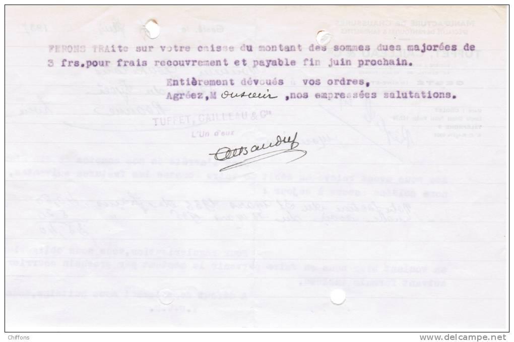 1937 MANUFACTURE DE CHAUSSURES SPECIALITE DE PANTOUFLES & SANDALETTES TUFFET CAILLEAU & Cie GESTE MAINE-ET-LOIRE - 1900 – 1949