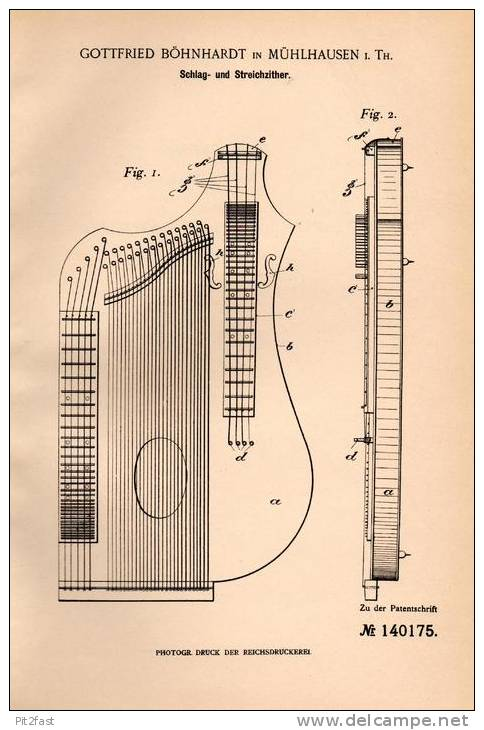 Original Patentschrift - G. Böhnhardt In Mühlhausen I. Th., 1902 , Schlag- Und Streichzither , Zither !!! - Musikinstrumente