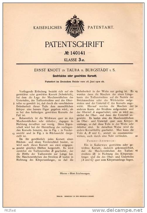 Original Patentschrift - Ernst Knott In Taura B. Burgstädt I.S., 1902 , Gestricktes Korsett !!! - Historische Bekleidung & Wäsche