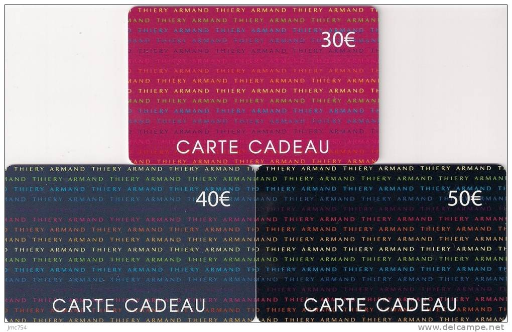 carte cadeau armand thiery Cartes Cadeaux   3 CARTE CADEAU ARMAND THIERY TTBE