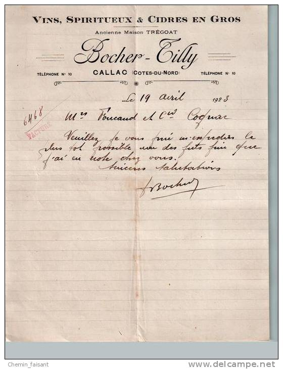 Entête Du 19/04/1923 BOCHER-TILLY Vins Spiritueux Cidres - Callac - Côtes-du-Nord - France
