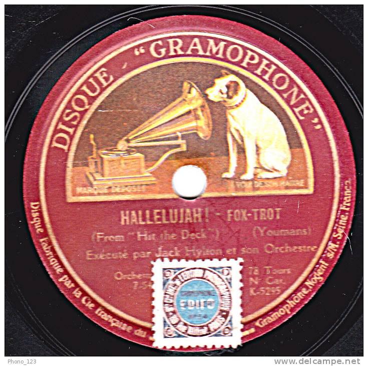 "78 Tours - DISQUE ""GRAMOPHONE"" K 5295 - JACK HYLTON - HALLELUJAH !  Fox-trot - SOMETIMES I' HAPPY Fox-trot - 78 Rpm - Schellackplatten"