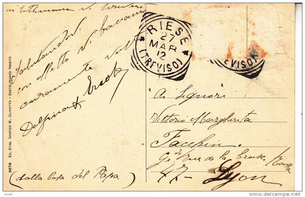 RIESE - TREVISO - CASA OVE NACQUE SS. PIO X VG 1912  BELLA FOTO D´EPOCA ORIGINALE 100% - Treviso