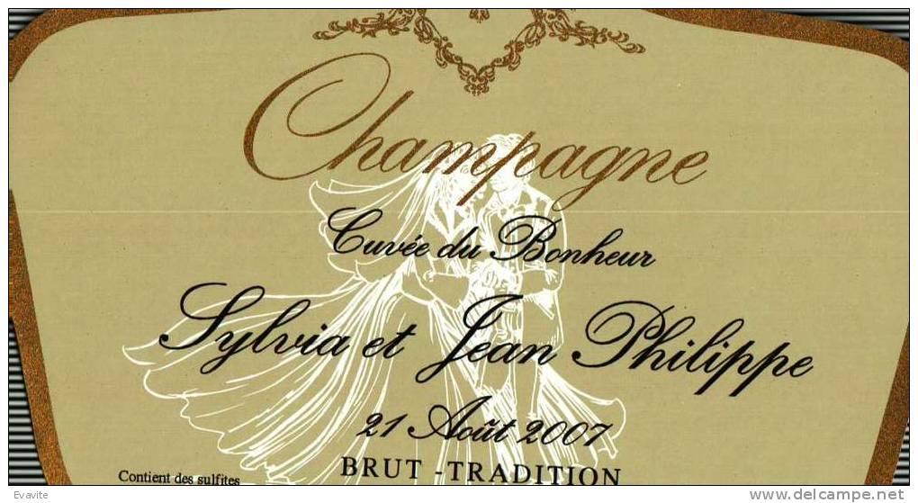 """Etiquette  Champagne    Elaboré Par Château-Malakoff -  Cuvée Du Bonheur  """"Sylvia & Jean-Philippe"""" - Parejas"""