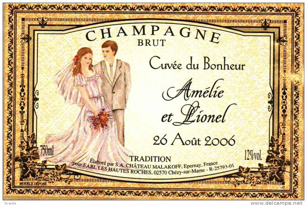 """Etiquette  Champagne    Elaboré Par Château-Malakoff - Cuvée Du Bonheur """"Amélie & Lionel"""" (Couple) - Couples"""