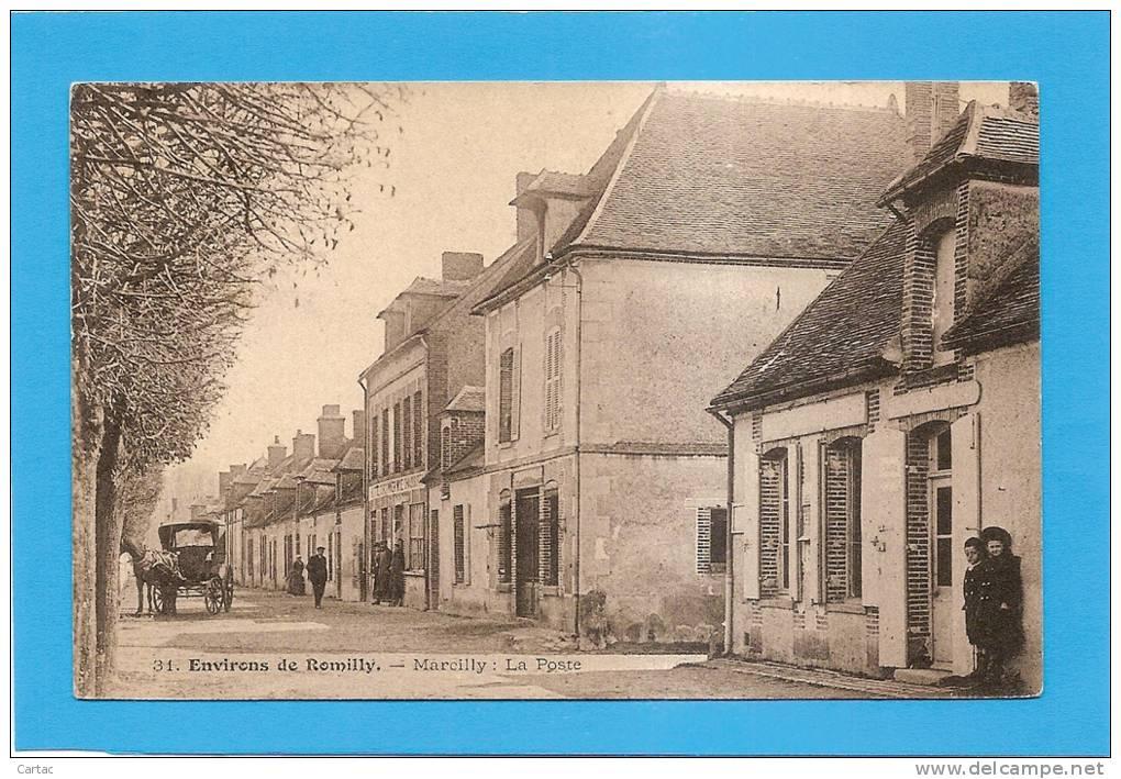 D10 - MARCILLY - LA POSTE - ENVIRONS DE ROMILLY - (ATTELAGE AVEC CHEVAL) - état Voir Descriptif - Marcilly