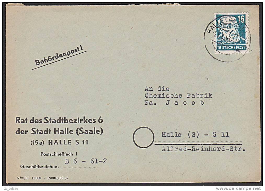 DDR 332 16 Pf Rudolf Vierchow (Köpfe II) Wz. Geprüft Gerhardt Behördenpost Ortsbrief Halle - [6] République Démocratique