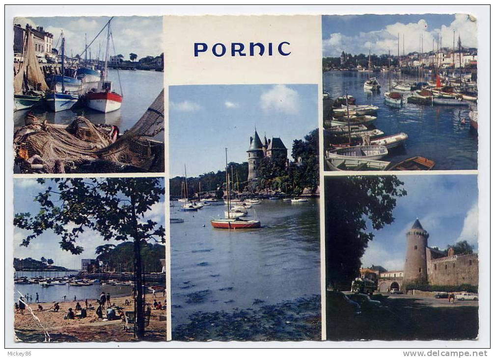 PORNIC--1966--Vues Diverses ,cpsm  10 X 15  N° 9254  éd Jos---tp Pont D'Oléron Au Verso-Flamme Pornic - Pornic