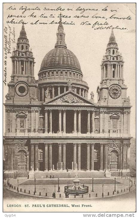 London St Paul ´s Cathedral West Front   Post Card 1907 - St. Paul's Cathedral