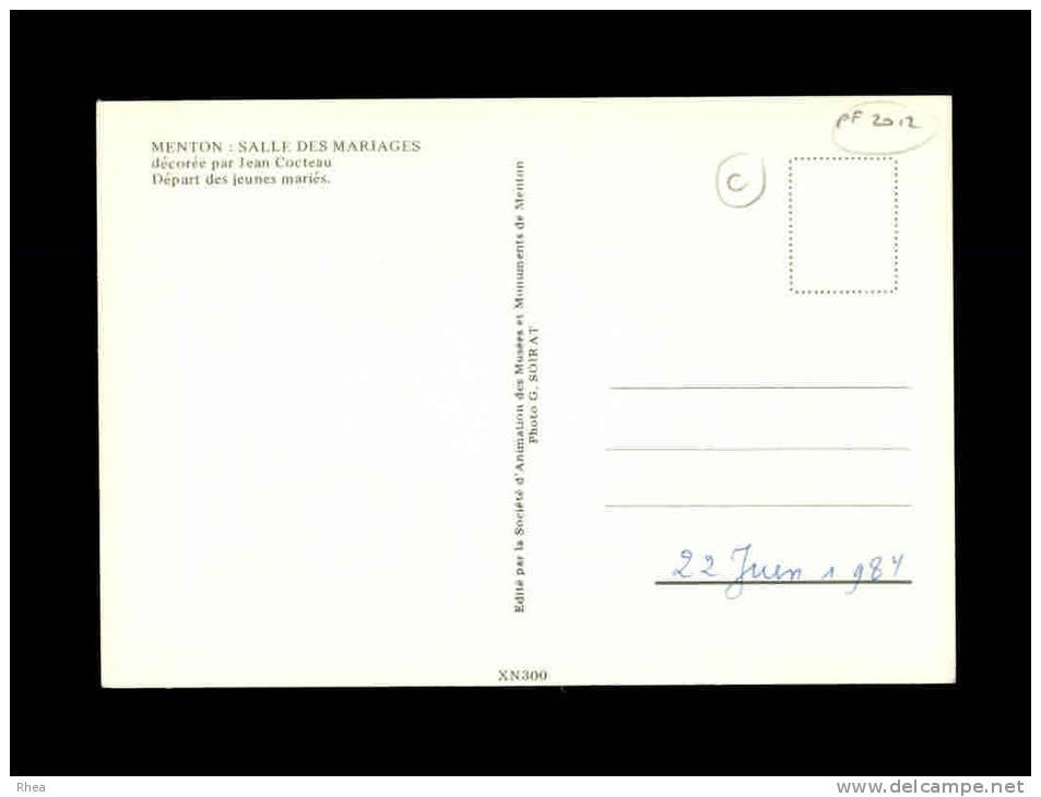 06 - MENTON - Salle Des Mariages Décorée Par Jean Cocteau - Départ Des Jeunes Mariés - Menton