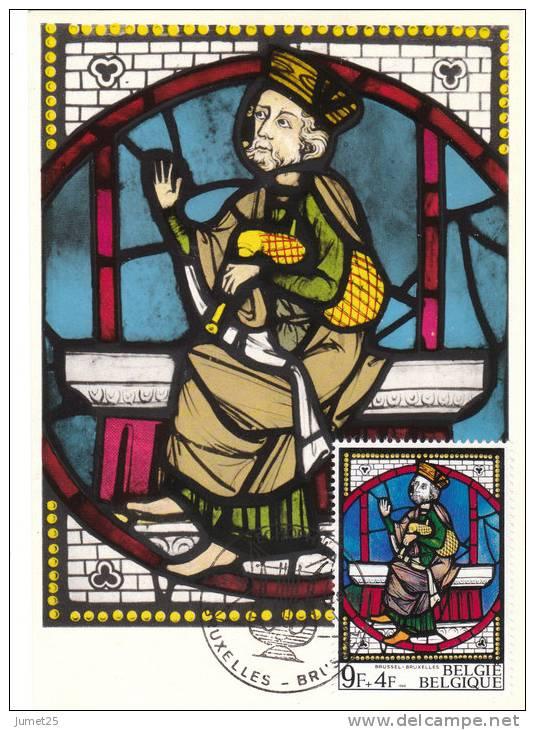 1522 Vitraux D´église - Bruxelles - Musée Royal D' Art Et Histoire  - Roi Assis Tenant Une Cornemuse - Cartes-maximum (CM)