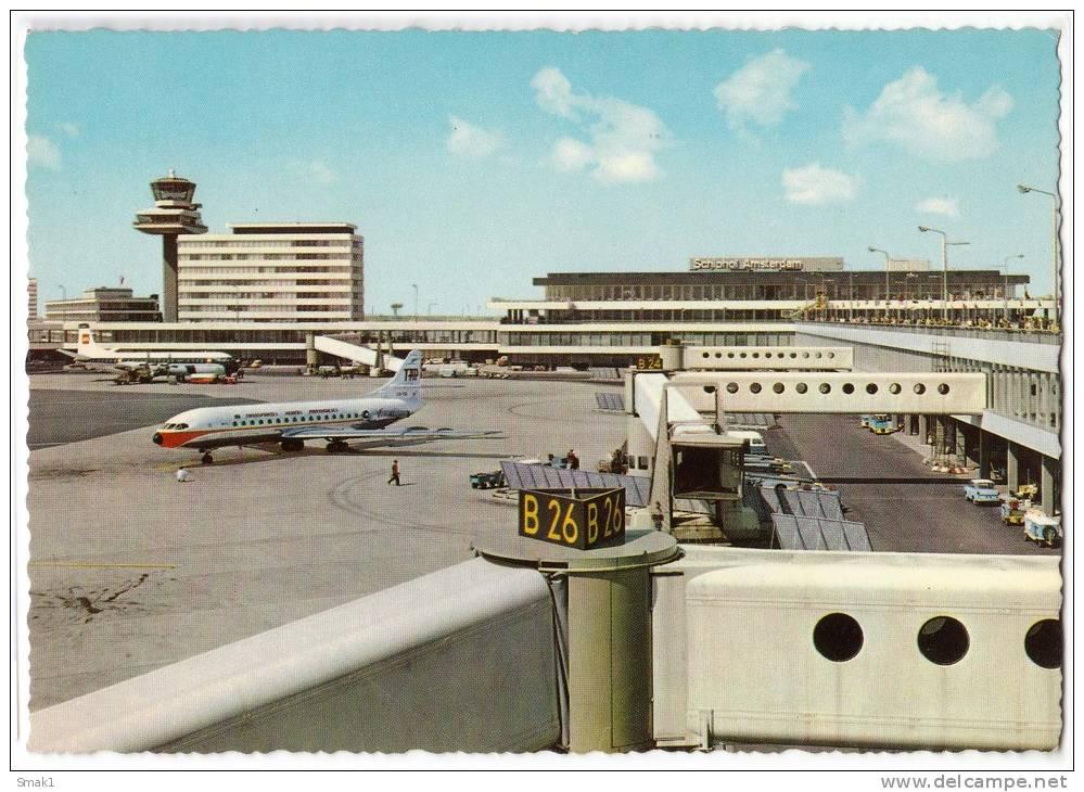 TRANSPORT AERODROME AMSTERDAM NETHERLANDS BIG CARD OLD POSTCARD - Aerodrome