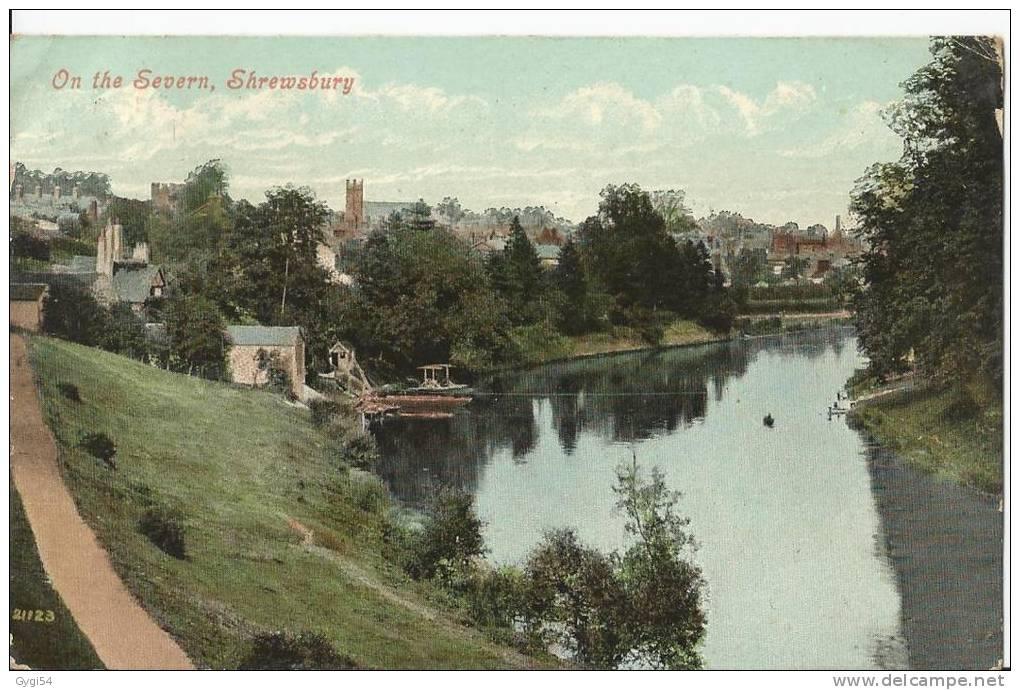 On The Severn ,Shrewsbury      Post Card 1907 - Shropshire