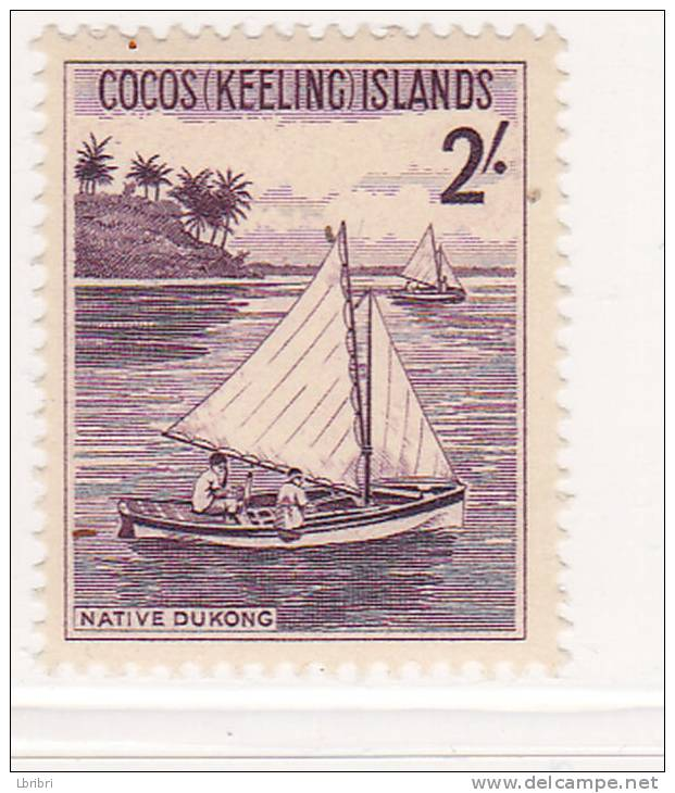 COCOS N° 5 2C VIOLET FONCE BATEAU INDIGÈNE NEUF SANS CHARNIERE - Cocos (Keeling) Islands