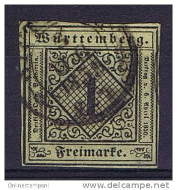 Deutschland: Württemberg Mi. 1 Used/cancelled - Wuerttemberg