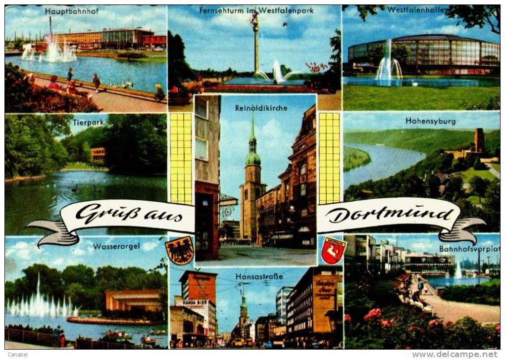AK Dortmund: Hauptbahnhof, Fernsehturm, Hansastraße, Westfalenhalle, Gel 1968 - Dortmund