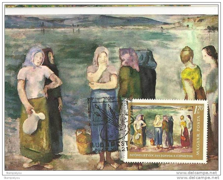 "TH - 4959 - Carte Maximale De Hongrie - Peinture De Szonyi Istvan ""Women On The Shore"" - Non Classificati"