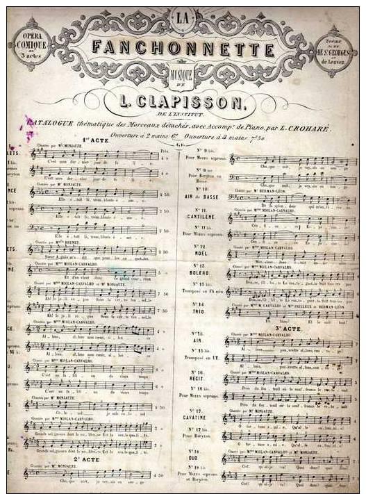 Partition Très Ancienne: La Fanchonnette, N°2, Romance, Paroles De De St Georges Et De Leuven, Musique De L. Clapisson. - Partitions Musicales Anciennes