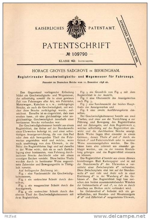 Original Patentschrift - H. Sadgrove In Birmingham , 1898 , Tachometer Für Automobile , Motorwagen , Tacho !!! - Cars