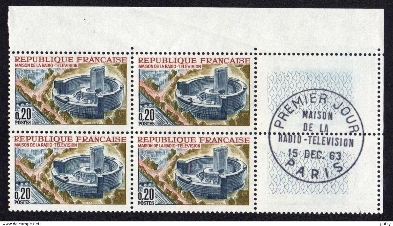 """N° 1402 """"Maison De La Radiodiffusion-Télévision """" 1963, Bloc De Quatre, Oblitération Paris. - 1960-1969"""