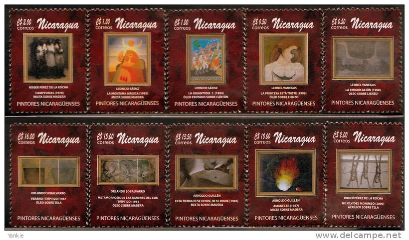 Nicaragua Paintings Art Set Of 10 MNH 2012 - Nicaragua