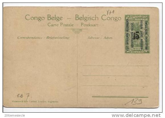 CP Vue 26 Belgisch Congo Belge Surchargé EST AFRICAIN ALLEMAND/DUITSCH OOST AFRICA  15 C Unused AP191 - Entiers Postaux