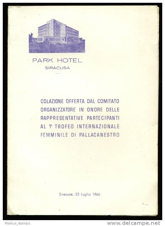 1966 Italy, Siracusa First Women Basketball Cup Menu, Park Hotel Syracuse - Menú