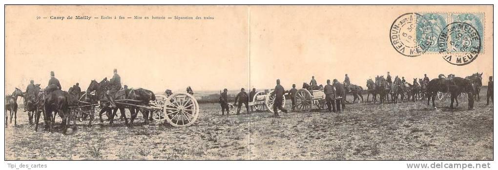 Militaria - Camp De Mailly, Ecoles à Feu, Mise En Batterie, Séparation Des Trains (carte Panoramique Double) - Militaria