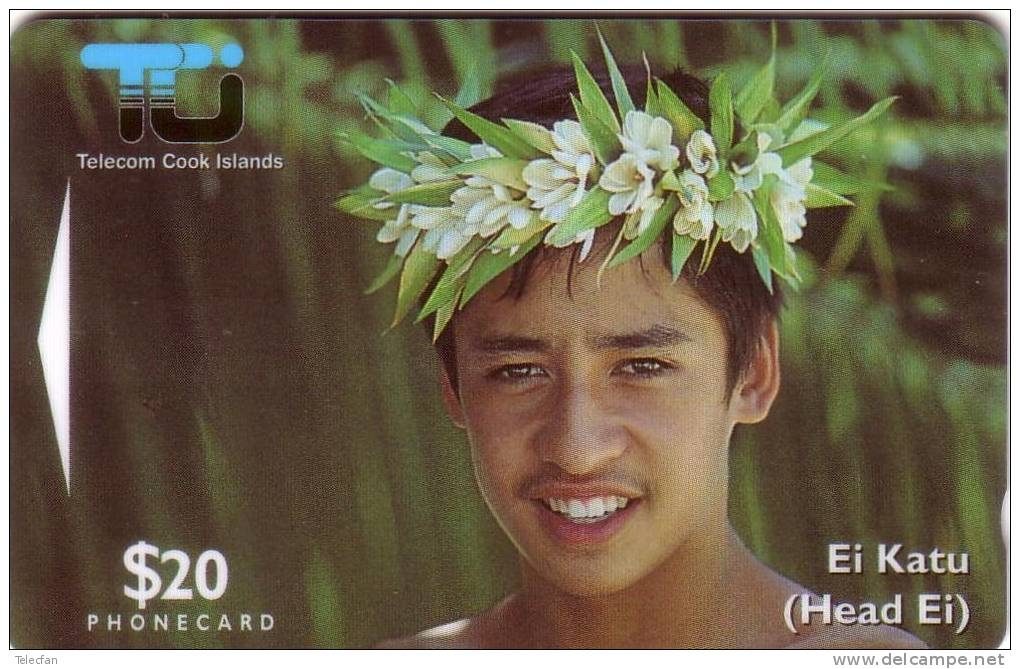 COOK ISLANDS TIARE MAORI GARCON 20$ UT - Télécartes