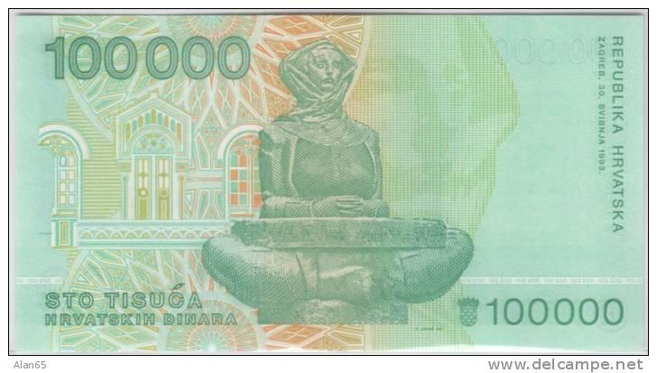 Croatia #27 100,000 Dinara 1993 Banknote Currency, - Croatia