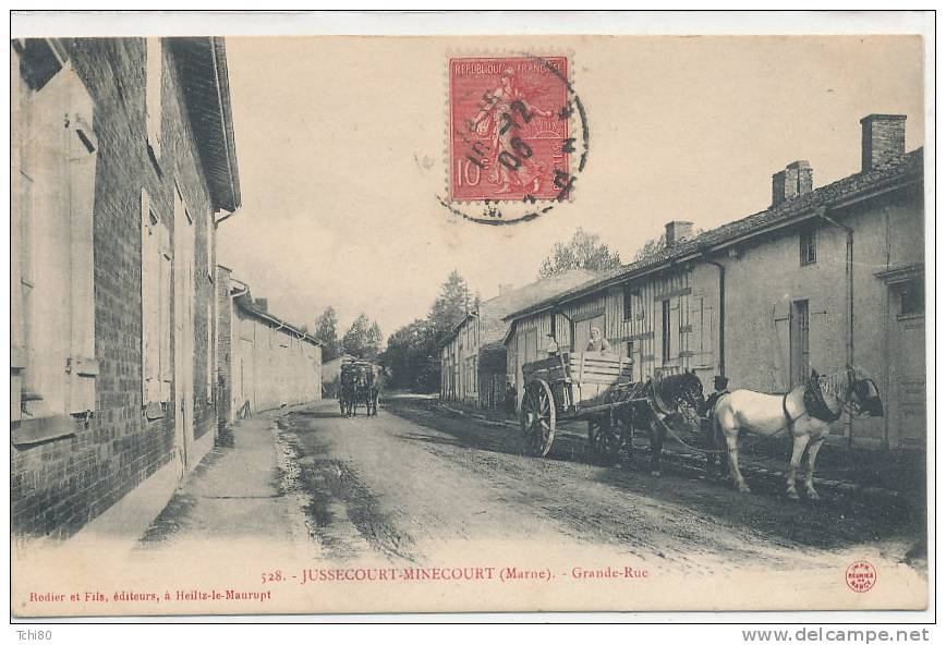 JUSSECOURT MINECOURT_Grande Rue (attelage ) - Autres Communes