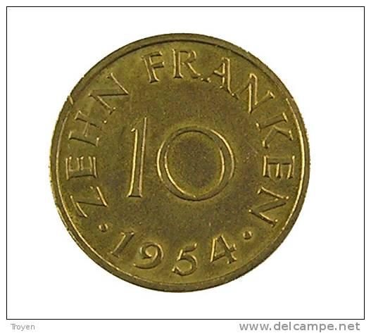 Sarre - 10 Francs - 1954 - Cup.Alu - TB+ - Sarre