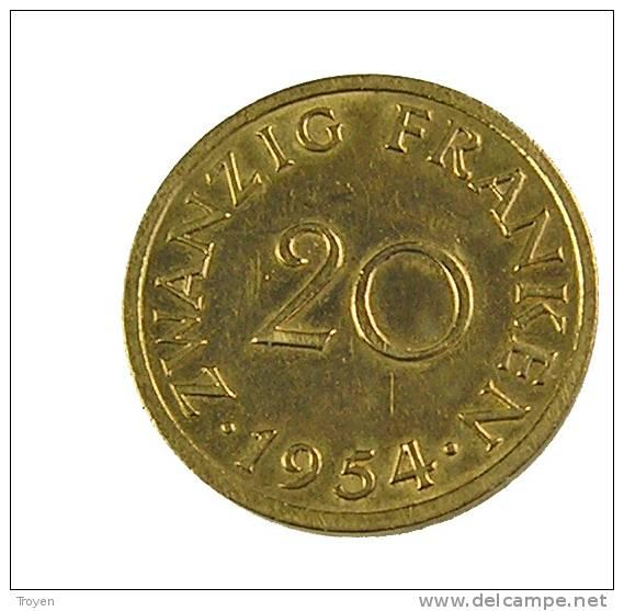 Sarre - 20 Francs - 1954 - Cup.Alu - TB+ - Sarre