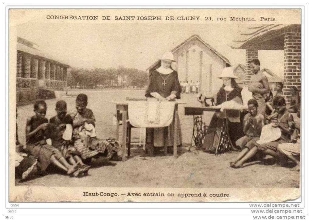 CPA  -  CONGREGATION DE SAINT JOSEPH DE CLUNY / PARIS -  HAUT - CONGO - Avec Entrain On Apprend à Coudre... - Französisch-Kongo - Sonstige