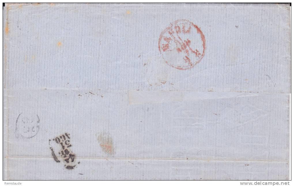 1871 - BORDEAUX YVERT N° 48 SEUL SUR LETTRE De MARSEILLE Pour NAPLES (ITALIE) - Marcophilie (Lettres)