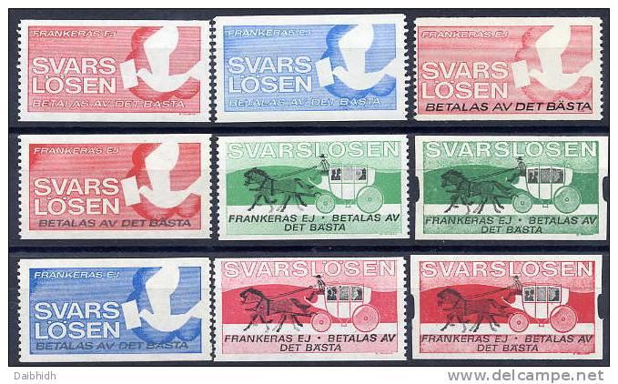 SWEDEN 1968 - 1970 Reply Postage Labels MNH / **.  Michel 2-7B - Sweden