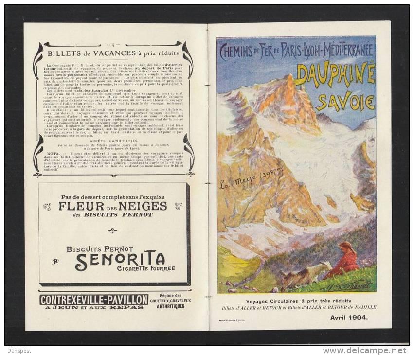 Chemins De Fer De Paris Lyon Mediterranee Dauphine Savoie 1904 - Europe