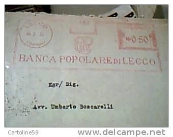 EMA ROSSA BANCA POPOLARE LECCO BPL  Lettera Intestata Interna  1935 RARA  EA8479 - Marcofilie - EMA (Print Machine)