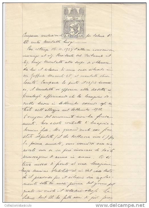 $3-W- Carta Bollata Tripoli Tripolitania Colonie Impero Lire 4 - 1938 No Marca Bollo - 1900-44 Vittorio Emanuele III