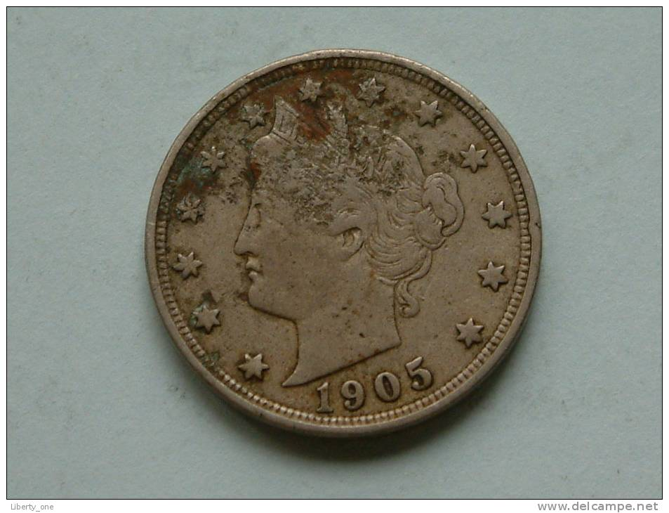 1905 - LIBERTY FIVE CENTS / KM 112 ( Uncleaned Coin / For Grade, Please See Photo ) !! - 1883-1913: Liberty