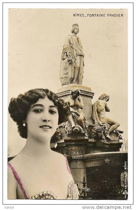 Nîmes - Fontaine Fradier  ( Pradier ) - Belle Jeune Femme Glamour - Colorisée - Ecrite / Timbrée 1906 - Nîmes