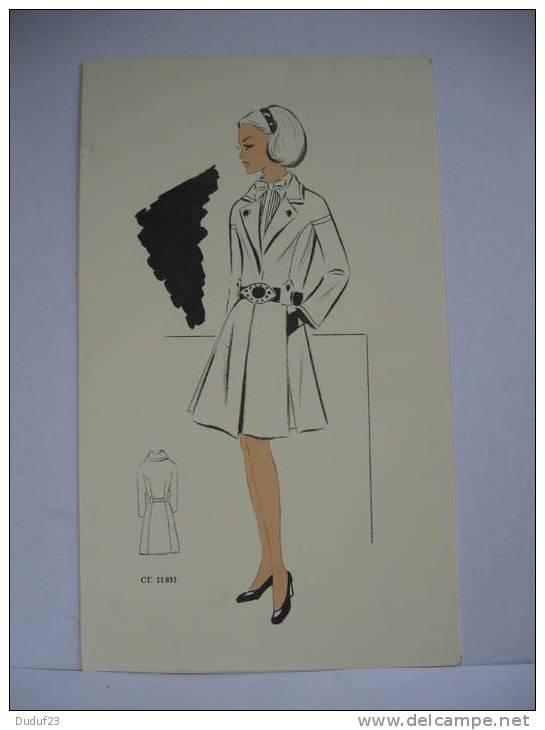 Dessin croquis mode couture annees 1960 70 manteau - Manteau dessin ...