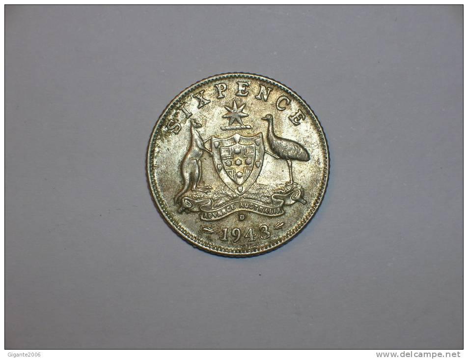 Australia 6 Pence 1943 D  (4485) - Moneda Pre-decimale (1910-1965)
