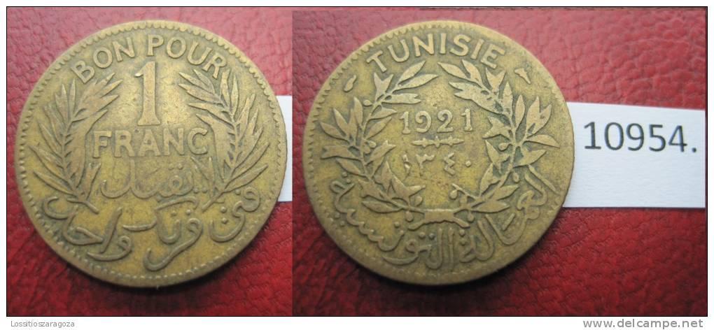 Tunez  1 Franco 1921  , Tunisia - Otros – Africa