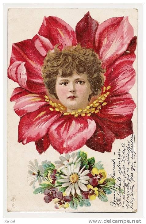 Visage D'enfant Dans Une Fleur - Branche Pensées Et Marguerites Porte-bonheur - Ecrite / Timbrée - Fleurs, Plantes & Arbres