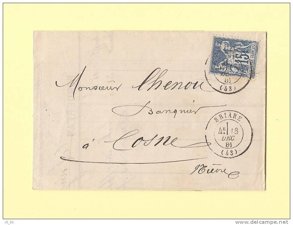 Briare - 43 - Loiret - 18 Dec 1881 - Marcophilie (Lettres)