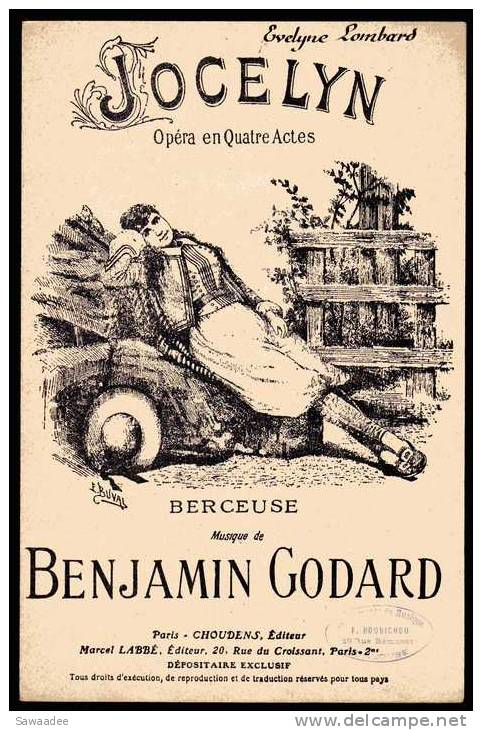 PARTITION - JOCELYN - OPERA EN 4 ACTES - BERCEUSE - MUSIQUE BENJAMIN GODARD - Opéra