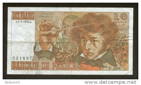 10 FRANCS BERLIOZ BILLET FRANCAIS U.286 N° 521897 SUP IDEAL DEBUTANT CRAQUANT D'ORIGINE 4 TROUS ! 4-3-1976 - 10 F 1972-1978 ''Berlioz''